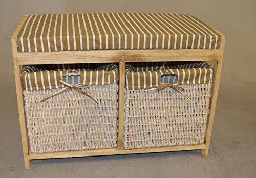 Hansen Korb 3401/Bank Sitzhocker / Truhe naturfarben mit gestreiftem Sitzpolster, Abm.B 70 T 35 H 50 cm cm inkl zwei großen Staukörben