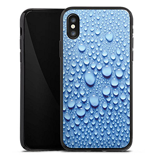 Apple iPhone X Silikon Hülle Case Schutzhülle Wasser Tropfen Muster Silikon Case schwarz