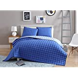 VCNY Home Checker Board 3 Piece Circle Embossed Reversible Coverlet Set, Full/Queen, Blue