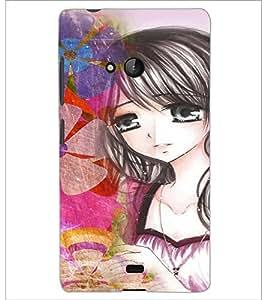 PrintDhaba Cute Animated Girl D-3600 Back Case Cover for MICROSOFT LUMIA 540 (Multi-Coloured)