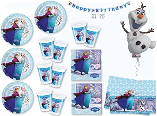 Frozen festa party 32 PIATTI 32 BICCH. 40 TOVAGLIOLI 1 TOVAGLIA 1 FESTONE 1 PALLONE