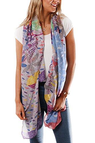 Style Slice Damen Schal Frühling Sommer Geometrisch Floral Blumen Muster, Blau, Türkis, Groß XXL Tuch, Tücher, Schals, Elegante Weiche Schals, Geschenk für sie (Blau) (Schal Florales Muster)