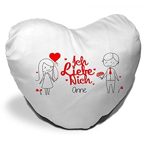 Herz-Kissen mit Namen Anne und Spruch - Ich liebe dich - mit Liebespaar zum Valentinstag | Herzkissen für Verliebte | Kuschelkissen in Herzform
