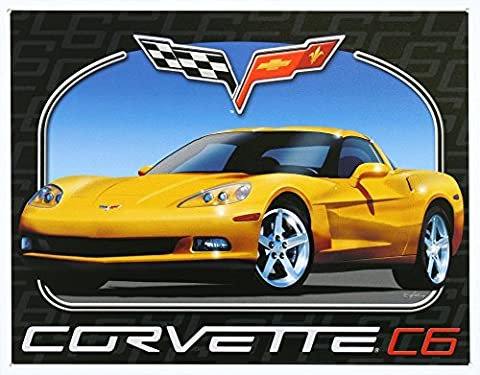 Chevrolet Chevy Corvette C6 Tin Sign 13 x 16in by Tin Signs
