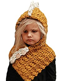 CHIC-CHIC Kids Girls Boys Winter Warm Knitted Earflap Hat Caps Dinosaur Hood Scarf Cloak