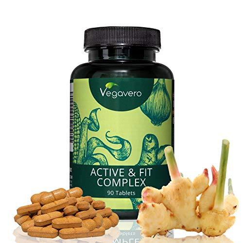 Active & Fit Complex Vegavero | 90 Tabletten | LABORGEPRÜFT | Glucosamin - Zwiebel – Boswellia – Curcumin Kurkuma – Ingwer – Galgant | Hochwertige Extrakte | Vegan und OHNE Zusatzstoffe