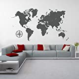 eDesign24 Wandtattoo Weltkarte Kontinente Wanddekoration Wanddesign Welt Karte World Map Tattoo Design ca. 140 x 79 cm grau