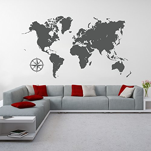 malango® Wandtattoo Weltkarte Kontinente Wanddekoration Wanddesign Welt Karte World Map Tattoo Design ca. 140 x 79 cm grau