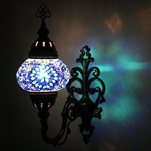 Wall Light Turkish Mosaic Sconce Lamp, Stunning Moroccan Style Handmade with large size (14 cm) Glass Globe by TK Bazaar (Agate)