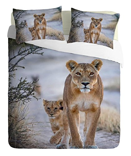 Adam Home 3D Digital Printing Bett Leinen Bettwäsche-Set Bettbezug + 2x Kissenbezug - Lion In Jungle (Alle - Lion Bettbezug