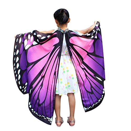 m, HLHN Kinder Schmetterling Flügel Schal Schals Nymphe Pixie Poncho Kostüm Zubehör für Show / Daily / Party (Lila_Kinder,136x108 cm) (Zubehör Für Kostüme)
