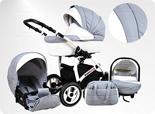 Lux4Kids BIANCinO Kinderwagen Komplettset (Autositz & Adapter, Regenschutz, Moskitonetz, Schwenkräder) 09 Eco Leather White & Silver