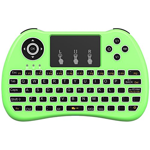 AAAHOMEEU Backlit 2.4GHz Wireless Mini Keyboard H9 Pro, Maus Toupad Combo, tragbare Multi-Media Fernbedienung für Android TV Box, HTPC, IPTV, PC, Pad und mehr – Grün (Pure White Backlight)