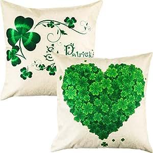 Boao 2 Pezzi Federa da Giorno di San Patrizio Copricuscino Shamrock Clover Copricuscini Irlandesi per Divano Decor, 18 x 18 Pollici (Style Set 1)