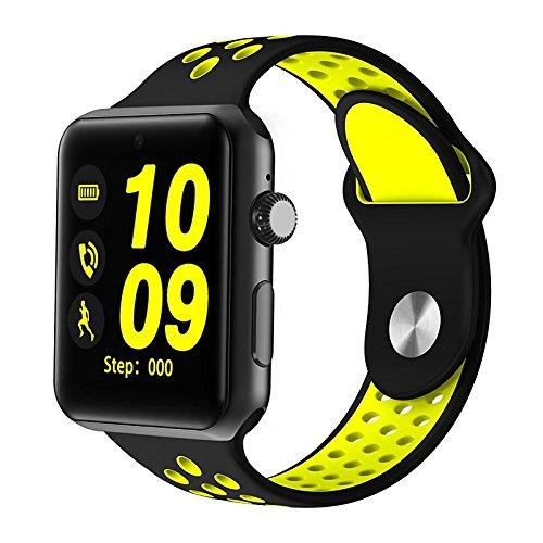 Galleria fotografica Lemumu Il Bluetooth Smart Watch orologio DM09 PLUS la frequenza cardiaca Smartwatch schermo HD Sync notificante il supporto della scheda SIM per Iphone per Android telefono,giallo