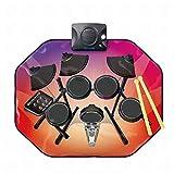 GZ Tappetino per Batteria Elettronica, Tappetino Musicale a 8 Tasti con Luci a LED, Cavo Mp3, Bacchette, Riproduzione di Supporto,A,1
