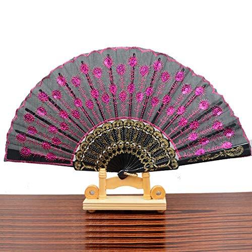 JUNHONGZHANG 2PCS Spanische Fans Plastik Fans Stickerei Pailletten Peacock Styling (21Cm), E