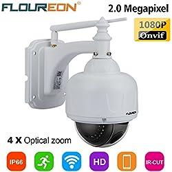 FLOUREON 1080P Dome IP Kamera Wlan Überwachungskamera 4x ZOOM PTZ IP Cam ONVIF P2P Netzwerkkamera Nachtsicht Bewegungsalarm