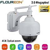 FLOUREON SD17W Caméra IP sans Fil PTZ Extérieur 1080P Zoom 4X 2.8-12mm IR-CUT Carte SD 128Go Max. Vision Nocturne Détection de Mouvement Envoi Alarme par Mail Vision à Distance par PC Smartphone P2P