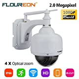 FLOUREON Cámara IP Seguridad CCTV inalámbrica 4XZOOM IR-CUT 1080P Wifi 2.8-12mm H.264 TF Micro SD Card IP66 Dome PTZ IP Camera EU