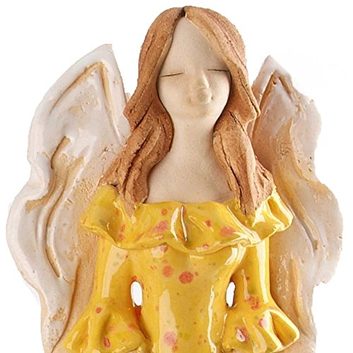 Angelo scultura   ceramica ornamento   giallo Guardian Angel Gift   Schermo di armonia