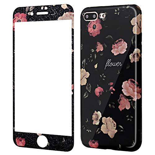 Wafly Handyhülle iPhone 7 Plus Blumen, iPhone 8 Plus Hülle mit Panzerglas, Soft Silikon Ultra Dünn Schutzhülle mit Muster 9H Panzerglasfolie,5,5''-Stoßfest, Anti-Shock, Anti-Fingerabdruck (Kamelie)