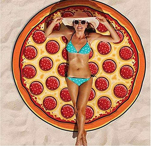 OOLOOYOO Round Beach Handtuch große Mandala Beach Handtube Blanket Super Water Absorbent Multi-Purpose Beach Handtube Schal,Pizza,Polyester