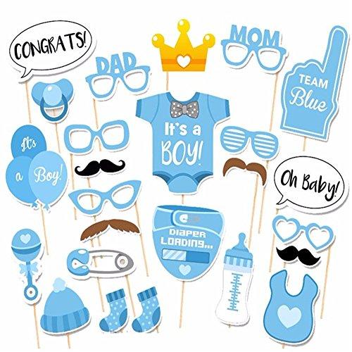 Baby Shower 25 pezzi divertente ragazzo ragazza Cabina Fotografica Decorazioni blu rosa Festa di compleanno Maschera da festa Forniture Cabina Fotografica Blue