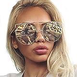 Amlaiworld Mode Unisex Polarisierte Katzenaugen Sonnenbrille Metall Rand Rahmen Sunglasses Reflektierenden Retro Spiegel Linse Vintage Style mit Trendigen für Party Outdoor-Aktivitäte (F)