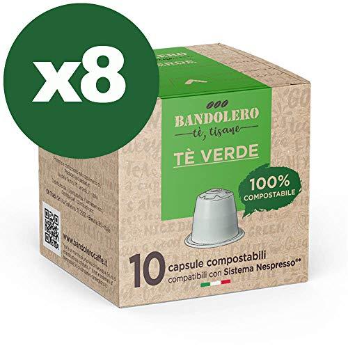 BANDOLERO 100% Kompostierbar Made in Italy, 80 Nespresso-kompatible Kapseln, Grüner Tee aus ökologisch nachhaltigem Anbaue, Unverwechselbares Aroma für die Nespresso-Maschine