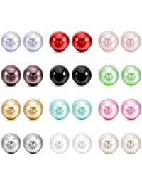Perlas de imitacion Pendientes Conjunto - SODIAL(R)4~10mm 24 Pieza Acero Inoxidable Resina Semental Pendientes Conjunto Set ( 12 Pares ) Mujer