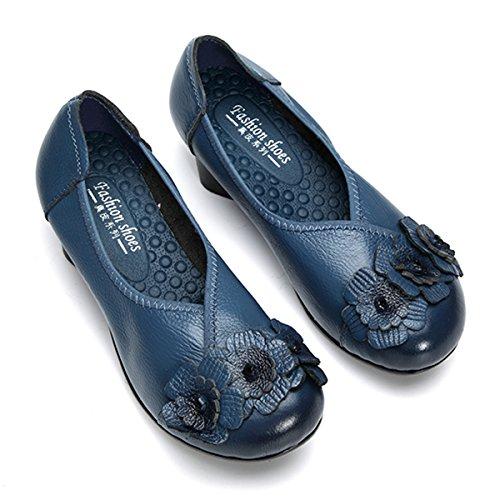 Socofy Damen Pumps, Damen Leder Slipper Klassische Pumps Blume Loafers Metallic Party Schuhe Leder-Optik Ballerinas Vintage Halbschuhe Slip-Ons Herbstschuhe Blau 40 - 5