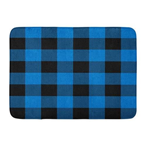 LIS HOME Fußmatten Badteppiche Outdoor/Indoor Fußmatte Check Lumberjack Plaid Pattern in Marineblau und Schwarz Buffalo Casual Bathroom Decor Teppich Badematte -