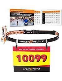 Sport2People Portanumero Cintura con Gel Energetici per Gare di Triathlon - Race Number Belt per corse, ciclismo, maratone