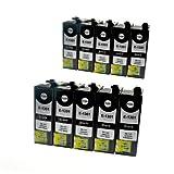 LS 10 Patronen für Epson C13T13014010 black Schwarz je 35,5ml, kompatibel zu C13T13014010
