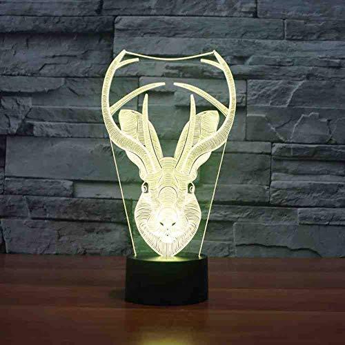 RJGOPL 7 Colors Change Touch Moose Head Modelling Button Creative Desk Lamp Usb Gift Led 3D Vision Deer Horn Lampara Nachtlichts Decor -