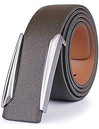 Cinturón de hebilla de latón sólido para hombres Cinturones de cuero  genuino ... 43c015217be6