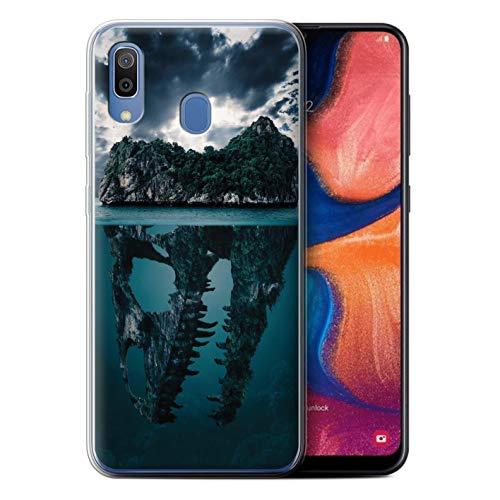 eSwish Gel TPU Hülle/Case für Samsung Galaxy A20e 2019 / Tropische Insel/T-Rex Muster/Dinosaurier Jurassic Earth Kollektion T-rex-mobile Handy
