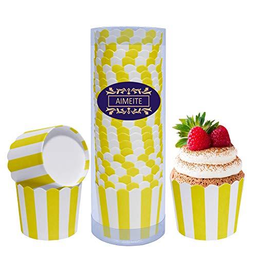 en Papier Mini Liner Muffin Förmchen Papier Cupcake Wrappers Backförmchen Cupcake Muffin Backform 24 Stück (Gelb) ()