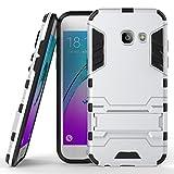 MaxKu Samsung Galaxy A3 2017 Hülle, 2in1 Hybrid Rugged Defender Case Handyhülle Drop Resistance Tasche Schutzhülle mit Standfunktion für Samsung Galaxy A3 2017, Silber