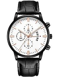 Beladla Relojes Hombre Automaticos Relojes De Pulsera El Man Banda De Cuero Relojes De Acero Inoxidable