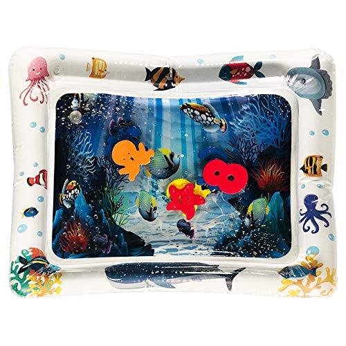 COZOCO Aufblasbare Baby-Wassermatte Fun Activity Play Center für Kinder und Kleinkinder Schwimmende riesige aufblasbare Schwimmende Luftmatratze (A-Blau) (Kinderbett Activity Center)