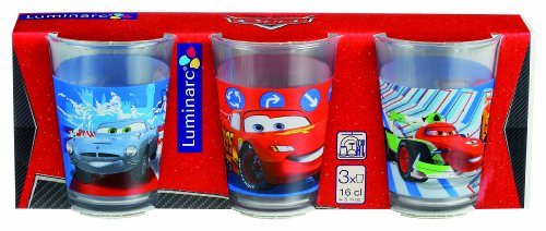 Luminarc, Serie Disney Cars, Trinkbecher 3er-Set mit farbenfrohem Design