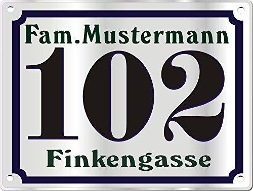 Preisvergleich Produktbild Hausnummerschild Edelstahl mit eigenem Text Farbe Edelstahl Schwarz m.Bohrung