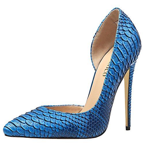 MONICOCO Übergröße High Heels Damenschuhe Spitze Zehen Animal-Print Geprägt Stiletto Pumps Für Party Blau