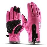 LNPP Fahrradhandschuhe,Smartphone Bedienen/Hände Warm/Winddichte/Winter Handschuhe Unisex,Pink,XL