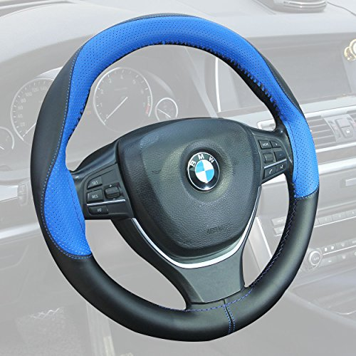 Yardsky Auto Lenkradhülle DIY Nähen Lenkradbezug mit Nähsachen Abdeckung aus Mikrofaser Kunstleder für 37-38cm Lenkrad Blau