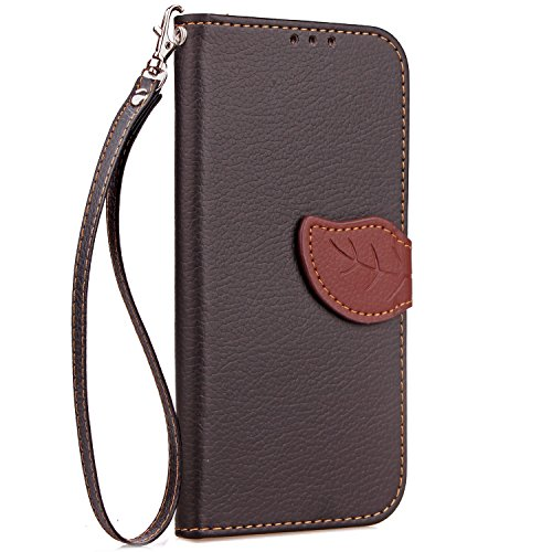EKINHUI Case Cover Mix und Match Color Leaf Magnetic Gürtelschnalle PU Ledertasche Brieftasche Stand Pouch Cover mit Lanyard für Wiko Jerry ( Color : Rose ) Black