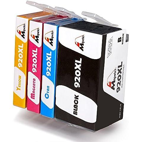 Mipelo Compatible HP 920XL Gran capacidad Cartuchos de tinta, Utilizado en HP Officejet Pro 6500 6000 7000 7500 Impresora (1 Negro, 1 Cian, 1 Magenta, 1 Amarillo)