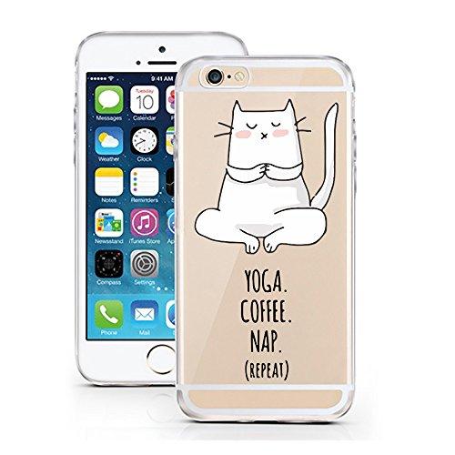 iPhone 7 Hülle von licaso® für das Apple iPhone 7 aus TPU Silikon always HEART Love Herz Liebe Muster ultra-dünn schützt Dein iPhone 7 & ist stylisch Case Design Schutzhülle Bumper Geschenk (iPhone 7, Yoga Coffee Nap Repeat Cat